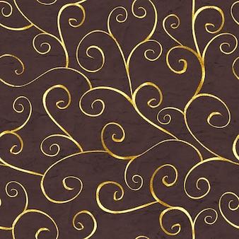Nahtloses luxusmuster des abstrakten goldes im orientalischen stil auf braunem schokoladenhintergrund. kann für tapeten, verpackungen, textilien, webseitenhintergrund verwendet werden.