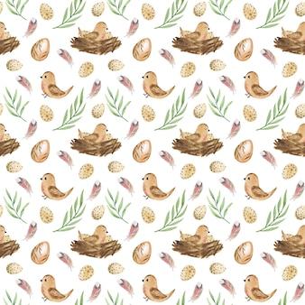 Nahtloses muster-aquarell-ostereier und -vögel des osters mit digitalem papierfrühlingsmuster des nestes