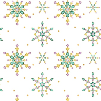 Nahtloses muster aquarell-weihnachtskristall-schneeflocke. schönes schmuckmedaillon in leuchtenden farben, brosche, dekoration am hals. modische brillante, applizierte strasssteine. stofftextur des neuen jahres