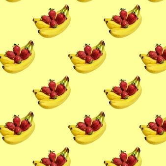 Nahtloses muster aus frischen bananen und erdbeeren.