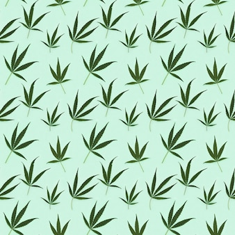 Nahtloses muster cannabisblätter.