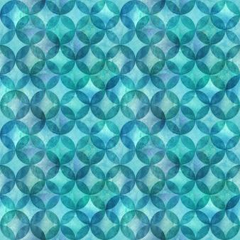 Nahtloses muster der abstrakten überlappenden kreise. aquarell handgezeichnet blau blaugrün türkis strukturierten hintergrund. aquarell geometrische kugelförmige elemente. druck für textilien, tapeten, verpackungen