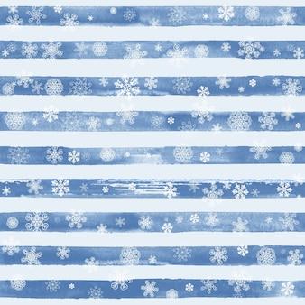 Nahtloses muster der abstrakten wintermode mit weißen schneeflocken auf blauem und weißem hintergrund des gestreiften aquarells. konzept frohes neues jahr und frohe weihnachten.