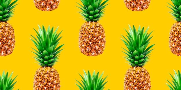 Nahtloses muster der ananas auf gelbem hintergrund