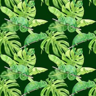 Nahtloses muster der aquarellillustration der tropischen blätter und des chamäleons