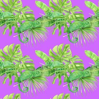 Nahtloses muster der aquarellillustration der tropischen blätter und des chamäleons.