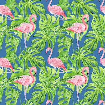 Nahtloses muster der aquarellillustration der tropischen blätter und des rosa flamingos.