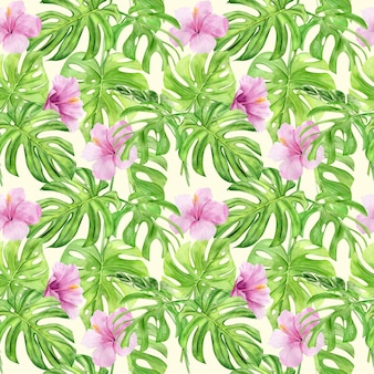 Nahtloses muster der aquarellillustration von tropischen blättern und blumenhibiskus.