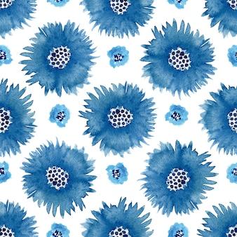 Nahtloses muster der aquarellkornblumen. kann zum wickeln verwendet werden