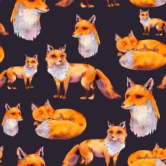Nahtloses muster der aquarellwaldfüchse, porträtfuchs, schlafender fuchs