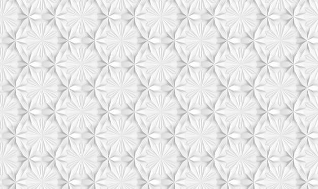 Nahtloses muster der dreidimensionalen hellen geometrie mit sechs-spitzen blumen