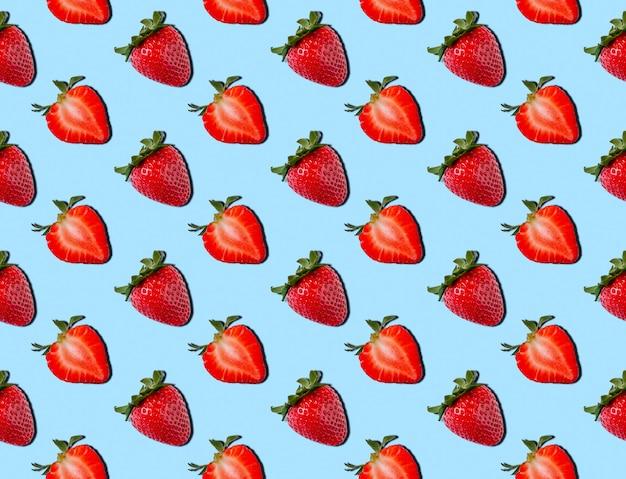 Nahtloses muster der erdbeere. lebensmittelkonzept. sommer-minimalismus. flach liegen