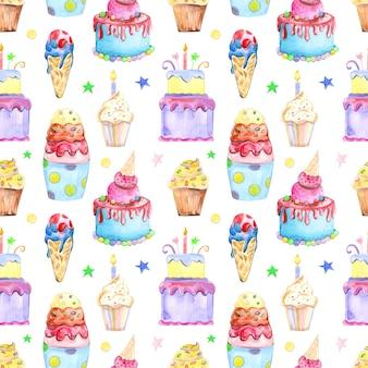 Nahtloses muster der illustration gezeichnet durch aquarellsüßwarenkuchen muffins makronen auf der