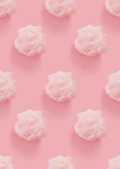 Nahtloses muster der rosa zuckerwatte auf rosa hintergrund