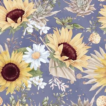 Nahtloses muster der sehr schönen sonnenblumen. aquarellillustration.
