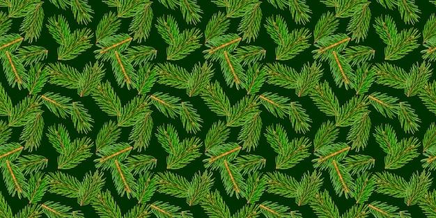 Nahtloses muster der tannenbaumaste, kiefernniederlassung, weihnachtsnadelbaum lokalisiert auf grün