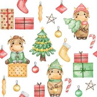 Nahtloses muster der weihnachtsbullen, niedliche weihnachtsbullen, digitales papier des neuen jahres, hintergrund der stiere