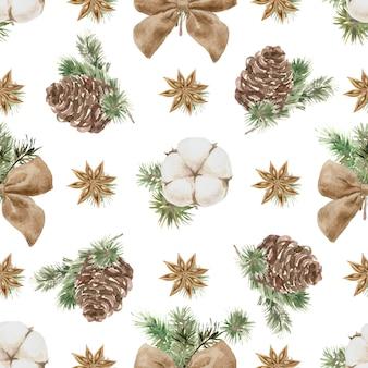 Nahtloses muster der weihnachtszusammensetzungen mit kiefer