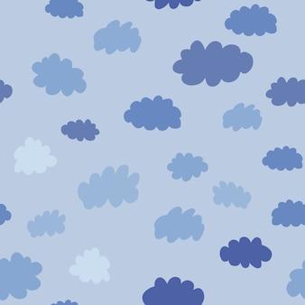 Nahtloses muster der wolken. wetterhintergrunddesign für stoff und dekor. textur für tapete, hintergrund, sammelalbum. vektor-illustration