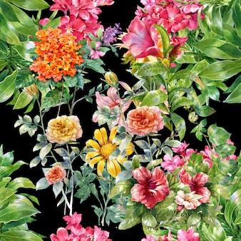 Nahtloses muster des aquarellblattes und -blumen