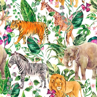 Nahtloses muster des aquarelldschungels, florale sommerbeschaffenheit der safari-tiere. tropische aquarellgiraffe, elefant.