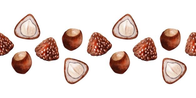 Nahtloses muster des aquarells mit den haselnüssen und den schokoladen mit nüssen