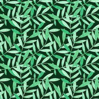 Nahtloses muster des aquarells mit grünen niederlassungen auf dunkelgrünem