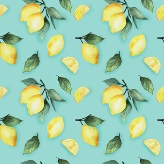 Nahtloses muster des aquarells mit hellen gelben zitronen und blättern auf einem blauen hintergrund, helles sommerdesign.