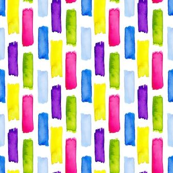 Nahtloses muster des aquarells mit regenbogenstreifen. modernes design für textil- oder geburtstagsdekoration