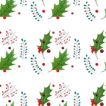 Nahtloses muster des aquarells mit traditionelle hand gezeichneten weihnachtselementen
