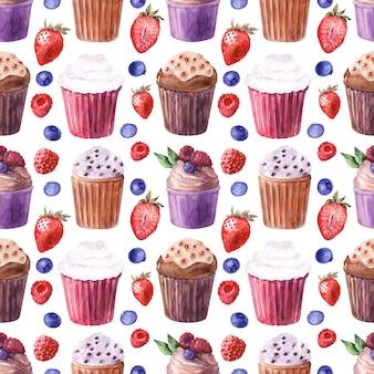 Nahtloses muster des aquarells mit verschiedenen kleinen kuchen und reifen erdbeeren, blaubeeren, kirschen und himbeeren