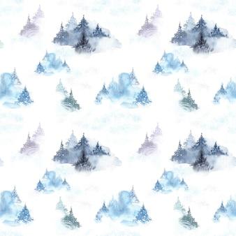 Nahtloses muster des bewölkten waldaquarells des winters