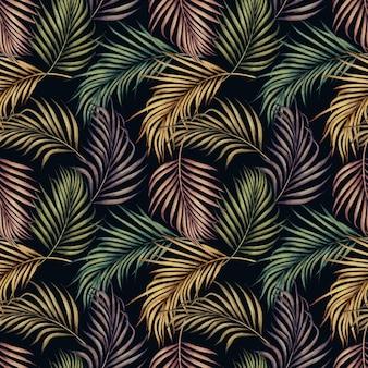 Nahtloses muster des bunten palmblattes der aquarellmalerei.
