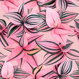 Nahtloses muster des bunten tropischen blattes der aquarellmalerei.