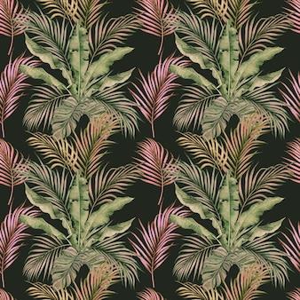 Nahtloses muster des bunten tropischen blattes der aquarellmalerei