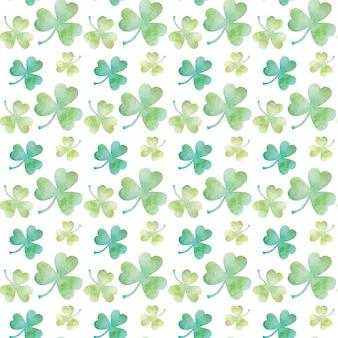 Nahtloses muster des grünen klee-aquarells