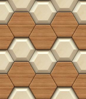 Nahtloses muster des hölzernen hexagons der wand