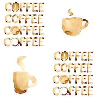 Nahtloses muster des kaffeethemas gemalt in echtem kaffee