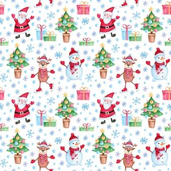 Nahtloses muster des neuen jahres und des weihnachten mit aquarell-zeichentrickfiguren und feiertagselementen.