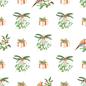 Nahtloses muster des weihnachtsaquarells. aquarell frohe weihnachten karte.