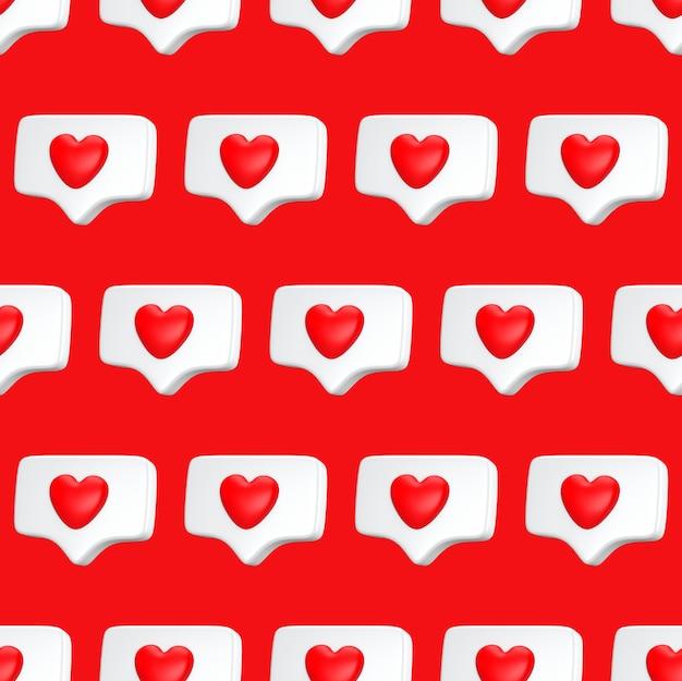 Nahtloses muster eine wie social media benachrichtigung mit herzsymbol. minimales konzept social media liebeskonzept 3d rendern