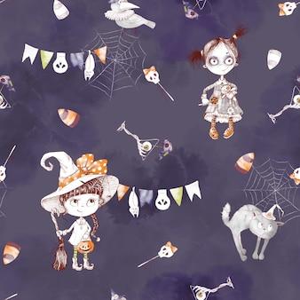 Nahtloses muster für den feiertag halloween. aquarellillustration.