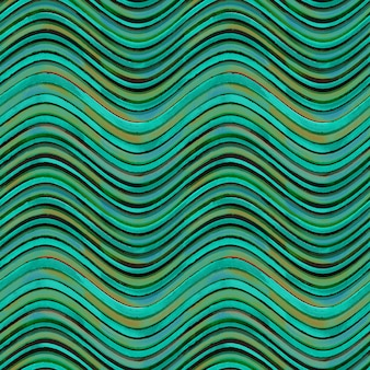 Nahtloses muster. gewellter gestreifter abstrakter geometrischer hintergrund des aquamarinen türkisblaus gelb und des braunen schmutzes. aquarell handgezeichnete nahtlose textur mit farbstreifen.