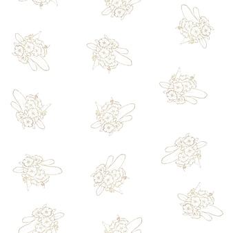 Nahtloses muster. goldumrisse von frühlingsblumen und -blättern.