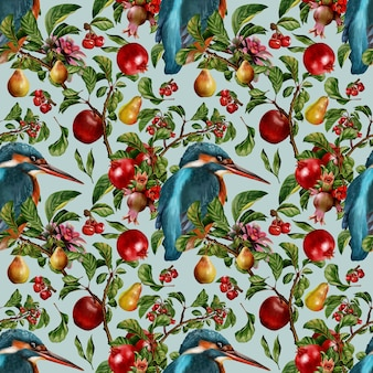Nahtloses muster handgezeichnete aquarellmalerei von flora verlässt pflanzen und früchte mit tropischen vögeln.