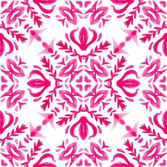 Nahtloses muster handgezeichnete aquarellverzierung rosa und weiß mit floralen elementen