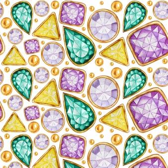 Nahtloses muster kristall in einem goldrahmen und in schmuckperlen. handgezeichnete aquarell edelstein diamant. helle farben stoffbeschaffenheit. weißer hintergrund für scrapbooking