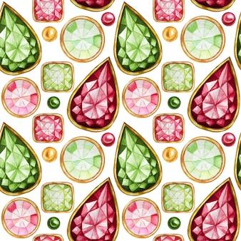 Nahtloses muster kristall in einem goldrahmen und in schmuckperlen. handgezeichnetes aquarell grün, roter edelsteindiamant. weihnachten und neujahr helle farben stoffbeschaffenheit. weißer hintergrund für scrapbooking