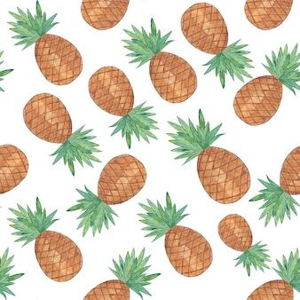 Nahtloses muster mit ananas lokalisiert auf weißem hintergrund