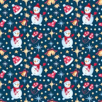 Nahtloses muster mit aquarell-weihnachtsillustrationen. nettes weihnachtsmuster.